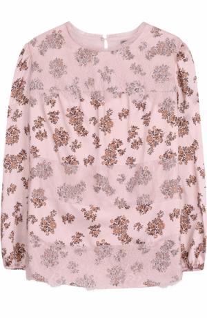 Блуза с принтом и кружевной отделкой Ermanno Scervino. Цвет: розовый