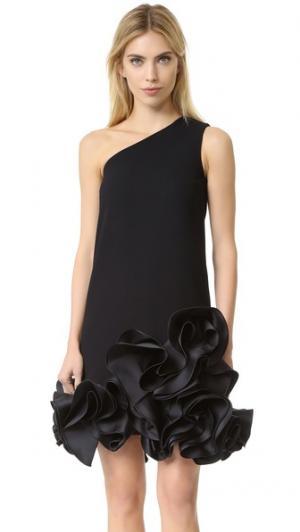 Платье с открытым плечом и оборками Victoria Beckham. Цвет: голубой