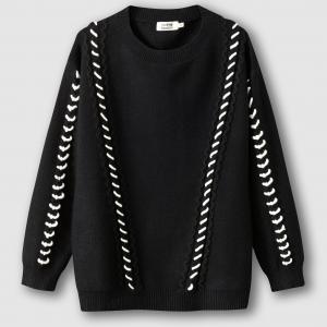 Пуловер с круглым вырезом и контрастным рисунком MOLLY BRACKEN. Цвет: черный