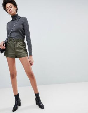 ASOS Нейлоновые спортивные шорты с поясом. Цвет: зеленый