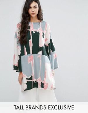 Waven Tall Платье-туника в стиле oversize с графическим принтом. Цвет: мульти