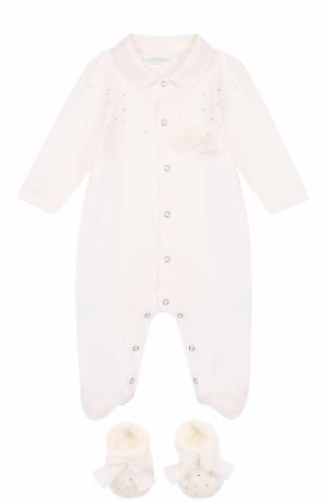 Хлопковый комплект из пижамы с пинетками La Perla. Цвет: бежевый