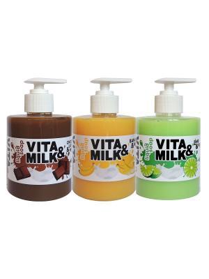 Жидкое мыло в наборе, ароматы: Банан, Шоколад, Лайм VITA-MILK. Цвет: салатовый, желтый, светло-коричневый