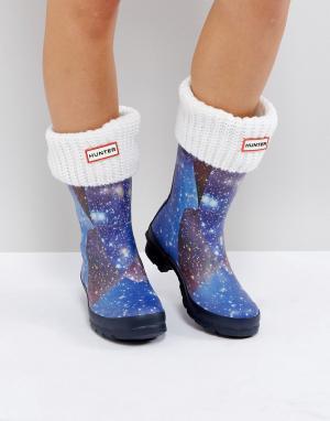 Hunter Белые толстые носки. Цвет: белый