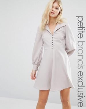 Alter Petite Короткое приталенное платье на пуговицах. Цвет: бежевый