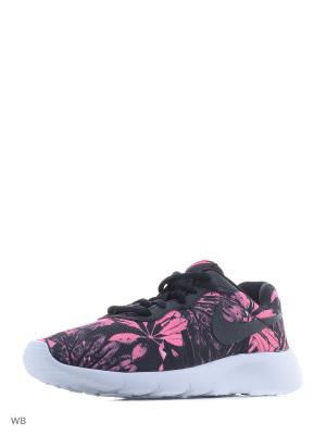 Кроссовки NIKE TANJUN PRINT (GS). Цвет: черный, розовый