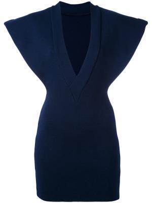 Приталенное платье с V-образным вырезом Jacquemus. Цвет: синий