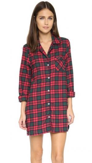 Ночная рубашка Audrey Three J NYC. Цвет: красный/зеленая клетка с зеленой отделкой