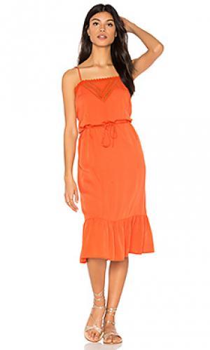 Миди платье на бретельках victorian AUGUSTE. Цвет: оранжевый