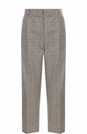 Укороченные шерстяные брюки с защипами Paul&Joe. Цвет: серый