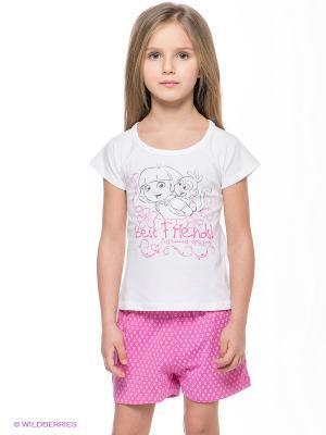 Пижама Button Blue. Цвет: розовый, белый
