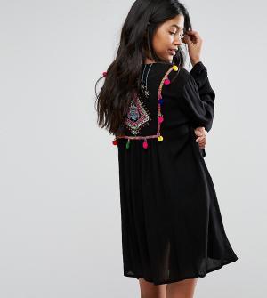 Akasa Пляжное кимоно с вышивкой на спине. Цвет: черный