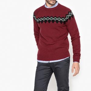 Пуловер из плотного трикотажа с круглым вырезом La Redoute Collections. Цвет: желто-каштановый