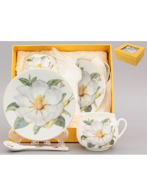Кофейная пара Белый шиповник Elan Gallery. Цвет: зеленый, белый