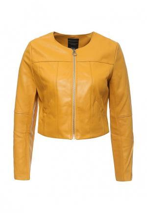 Куртка кожаная Manosque. Цвет: желтый