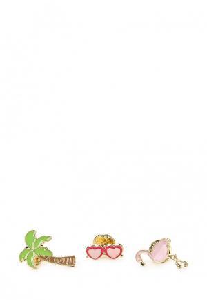 Комплект брошей 3 шт. Modis. Цвет: разноцветный