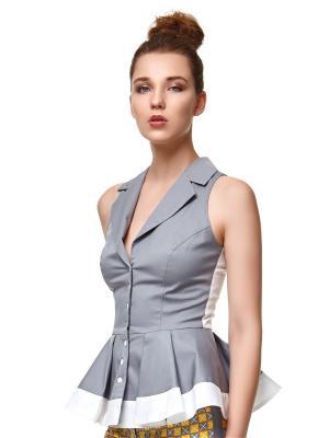 Блузка BergaModa. Цвет: серый, белый