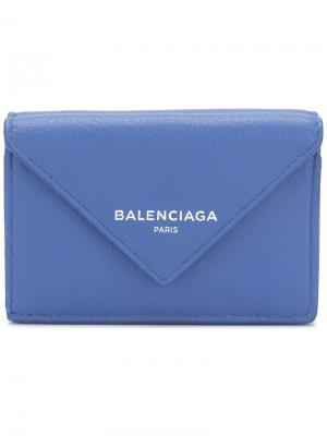 Кошелек Bal Papier Mini Balenciaga. Цвет: синий