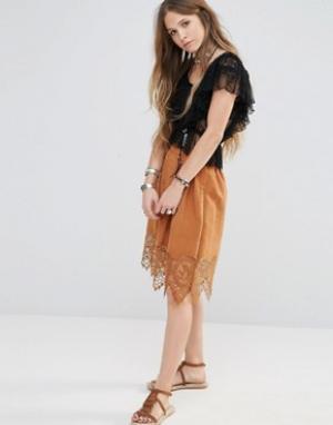 Moon River Пышная юбка с отделкой кроше. Цвет: коричневый