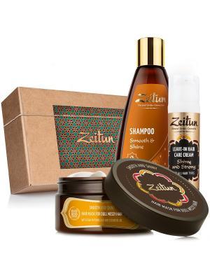 Подарочный набор шампунь, маска и крем-уход для волос Гладкость сила Зейтун. Цвет: бежевый