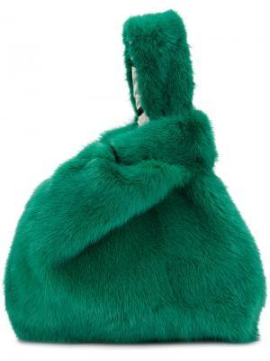 Сумка-тоут Furrissima Simonetta Ravizza. Цвет: зелёный