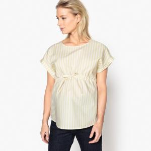Блузка в полоску из поплина для периода беременности La Redoute Collections. Цвет: в полоску желтый/белый