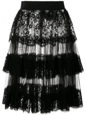 Многослойная юбка из тюля с кружевной отделкой Dolce & Gabbana. Цвет: чёрный