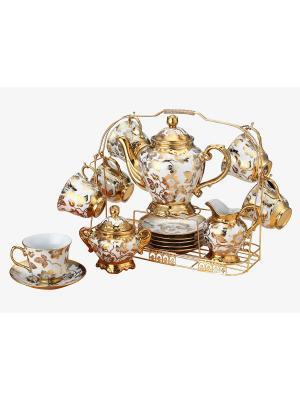 Чайный набор фарфор 18 предметов Florance. Цвет: белый, золотистый
