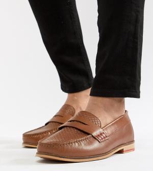 Silver Street Светло-коричневые кожаные лоферы для широкой стопы. Цвет: рыжий