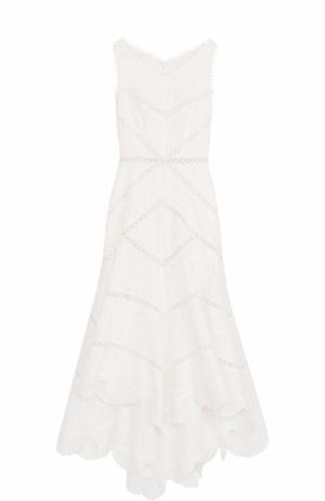 Приталенное кружевное платье-миди Zimmermann. Цвет: белый