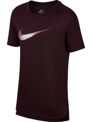 Футболка W NK DRY TEE DB BOYC ART Nike. Цвет: бордовый