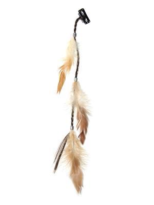 Зажим с перьями Lola. Цвет: коричневый