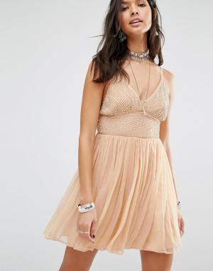 Free People Платье мини Like A Diamond. Цвет: розовый