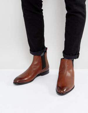 HUGO Светло-коричневые ботинки челси из телячьей кожи. Цвет: рыжий