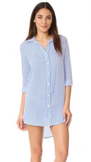 Платье-рубашка PJ Summer в полоску Salvage. Цвет: деним