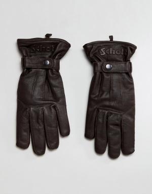 Schott Коричневые кожаные перчатки на флисовой подкладке. Цвет: коричневый