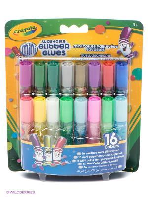 16 мини-тюбиков с блестящим клеем Crayola. Цвет: синий, зеленый, фиолетовый, красный, золотистый