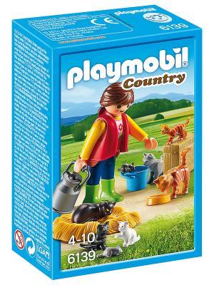 Ферма: Женщина с семейством кошек Playmobil. Цвет: зеленый, красный, синий