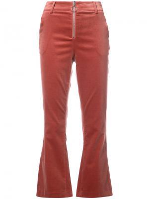 Cropped velvet trousers Frame Denim. Цвет: красный