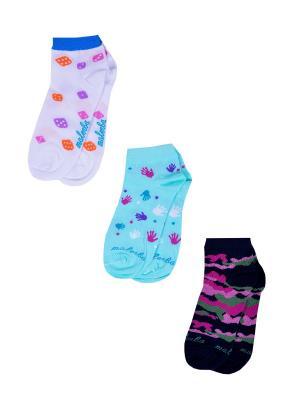 Носки женские,комплект 3шт Malerba. Цвет: черный, белый, салатовый