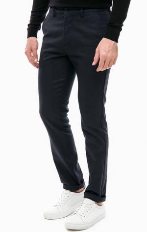 Зауженные хлопковые брюки синего цвета Lacoste. Цвет: синий