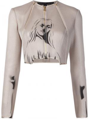 Сетчатый пиджак с принтом Dominic Louis. Цвет: телесный