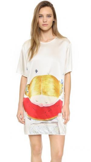 Платье Girl Eating Watermelon из шелка с принтом Anna K. Цвет: мульти