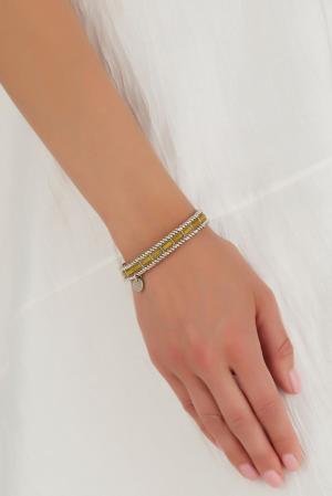 Браслет из латуни Philippe Audibert. Цвет: серебряный, желтый