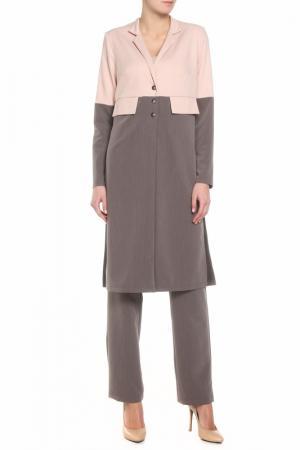 Костюм: тренч, брюки Adzhedo. Цвет: коричневый, розовый