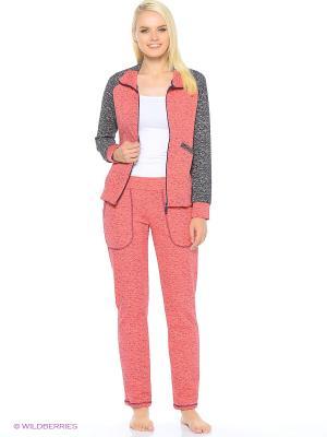 Комплект домашней одежды ( куртка,брюки) HomeLike. Цвет: коралловый