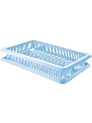 Сушилка для посуды с поддоном 1-а ярусная Лилия Plastic Centre. Цвет: голубой