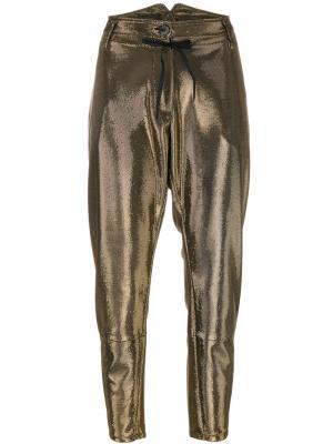 Укороченные брюки с высокой талией Lédition. Цвет: металлический