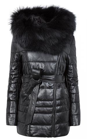 Куртка из натуральной кожи с поясом и отделкой мехом песца La Reine Blanche
