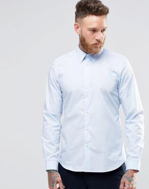 PS by Paul Smith Строгая рубашка слим с контрастной подкладкой манжет. Цвет: синий